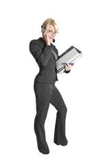 business frau mit aktenordner und handy