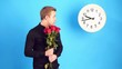 man waitng woman for a date for a long