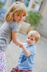 Dancing brother and sister