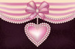 Valentine's Day love banner with pearls heart, vector