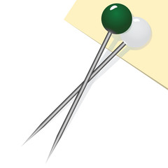 Two sewing pins