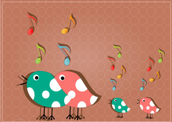 famille oiseaux musicaux
