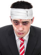 Close-up man with bruised eyes and head, funny businessman