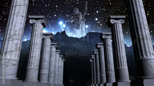 Greek pillars in cosmic scene
