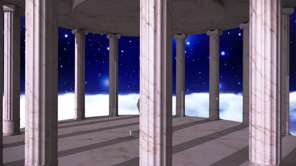 Ancient greek temple in space