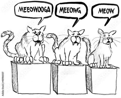 The three stages of cats and their meow.