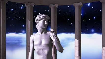Greek temple in cosmic scene with a sculpture