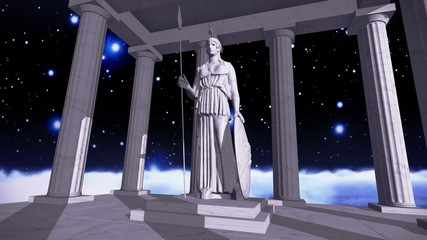 Ancient greek temple in space with a sculpture