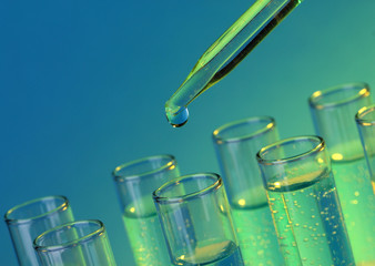 test-tubes with liquid on blue background