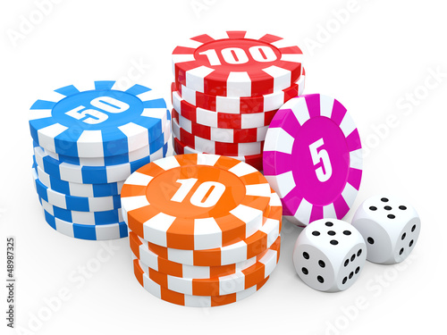 Casino chip stacks over white background. 3D render illustration