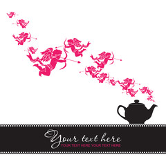 Abstract illustration of teapot with cupids. Place for your text