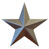 3d illustration of single golden star shape over white backgroun