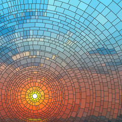 Vector illustration of sunset in sea.