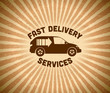 Delivery vintage label with car