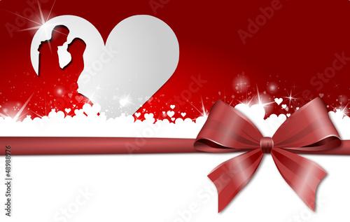 Hochzeitskarte mit Herz und Schleife
