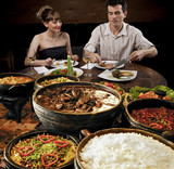 Feijoada - Brazilian meat & bean stew, side dishes & caipirinha