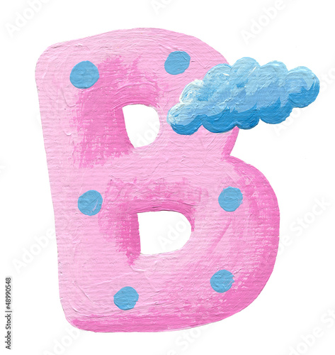 Initial pink letter B with cloud