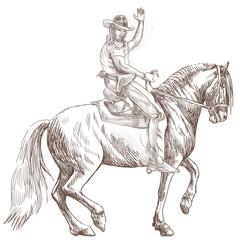 cowboy on horseback - a hand drawn illustration