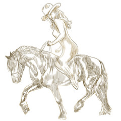 Beauty with long hair riding a horse - hand drawn illustration