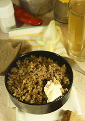 Buckwheat, a glass of kvass and spices.