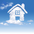 House of clouds in the blue sky on gradient-white background