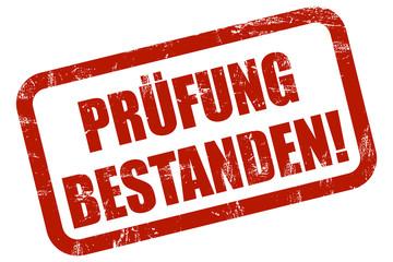 Grunge Stempel rot PRÜFUNG BESTANDEN!