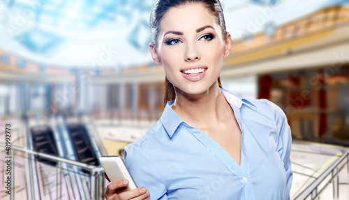 Young businesswomen work in a shopping mall