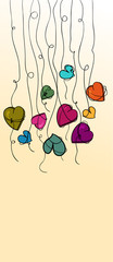 Valentine flowers heart hanging background