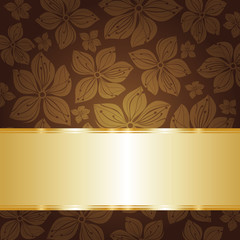 floral dark brown  invitation background with gold copyspace