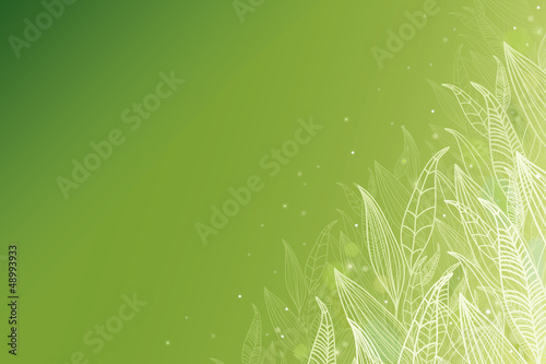 Vector green glowing leaves horizontal background with hand