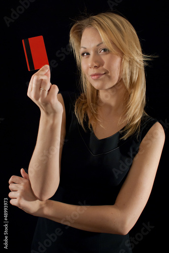 Businesslady presenting company's card
