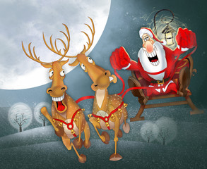 Santa Claus in a sleigh with reindeer