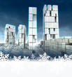 Skyscraper city at winter cold sunset snowflake frame