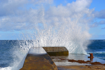 Sea wave shattered the pier