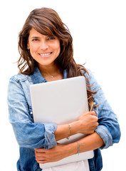 Woman holding a laptop