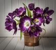 purple tulips in vase - vintage style