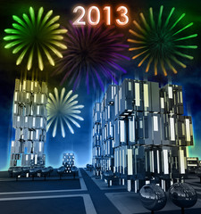 Awesome 2013 new celebration over modern skyscraper city
