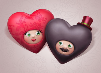 funny cute happy Valentine hearts couple in love