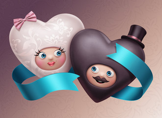 two funny cute happy wedding hearts