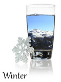 Winter beauty in a glass of water