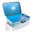 Travel suitcase with Swimming pool inside