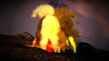 AWESOME VOLCANIC ERUPTION ON THE ISLAND