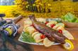 Рыба горячего копчения судак (zander, pikeperch) осенью