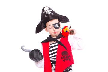 Pirat mit Hakenhand und Papagei auf der Schulter