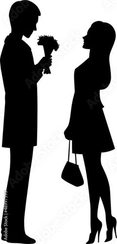 Silhouette of couple on a date