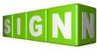 Sign green cubes
