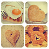 heart-shaped food collage