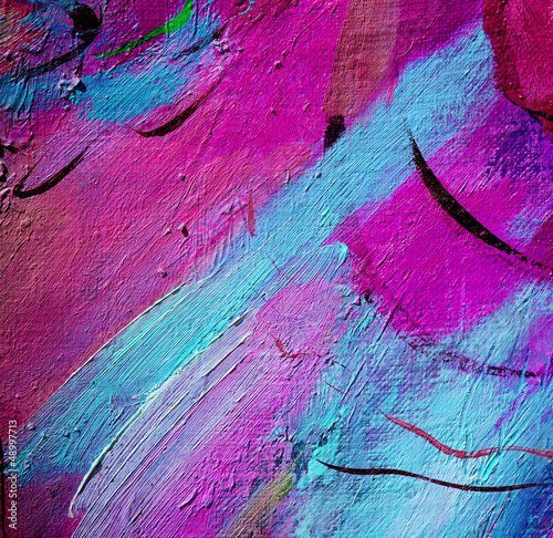Fototapeta abstract violet painting by oil on a canvas, illustration, back