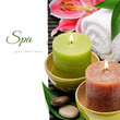 Spa setting with candles and lily