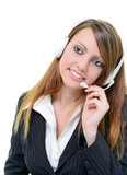 smiling attractive help desk agent